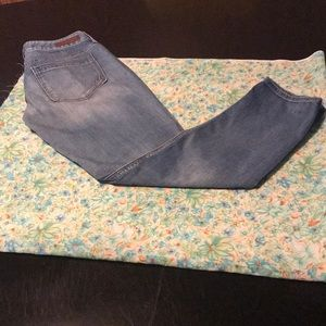 Blue denim low rise express jeans